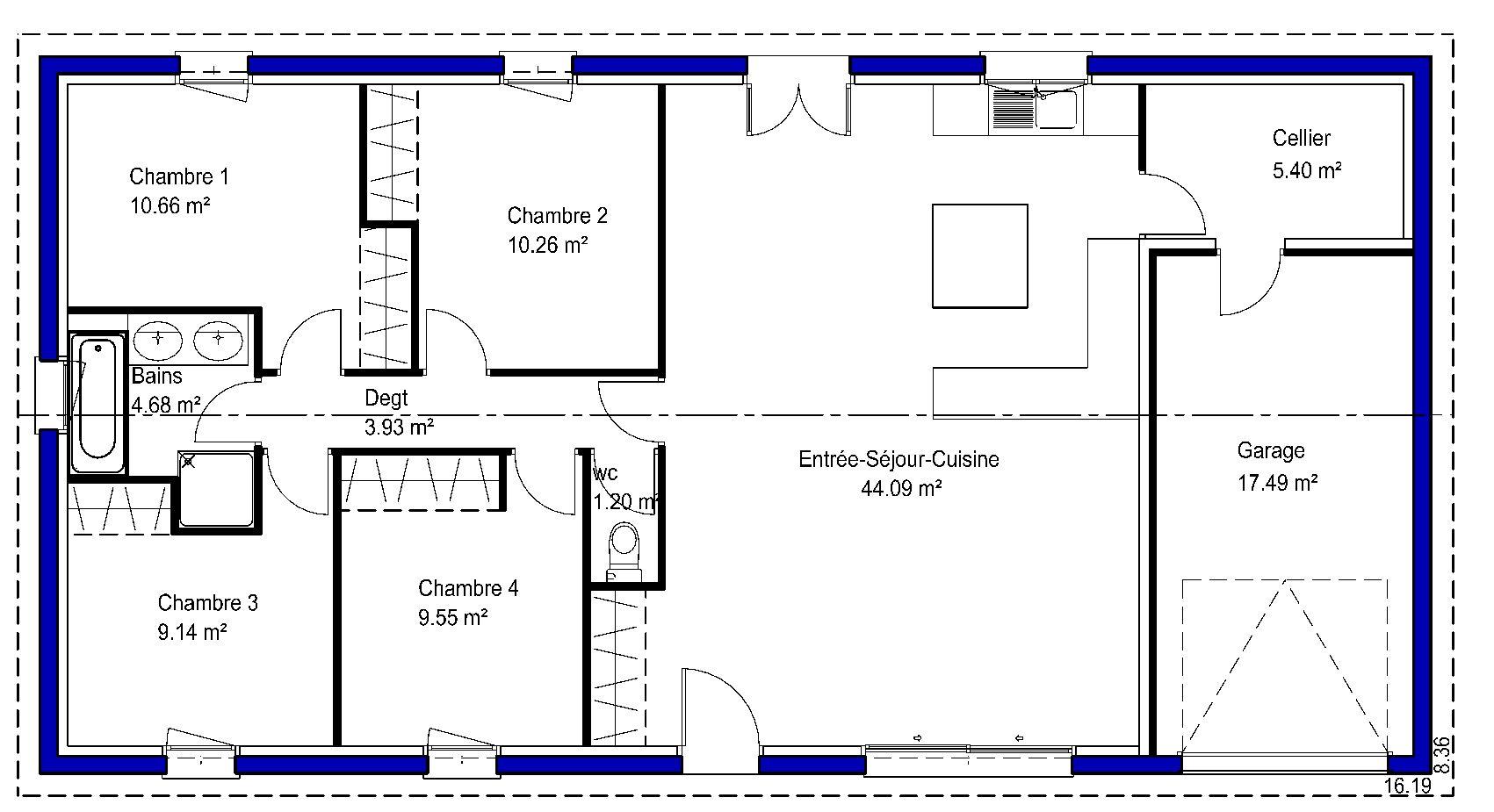 plan maison en l sans garage