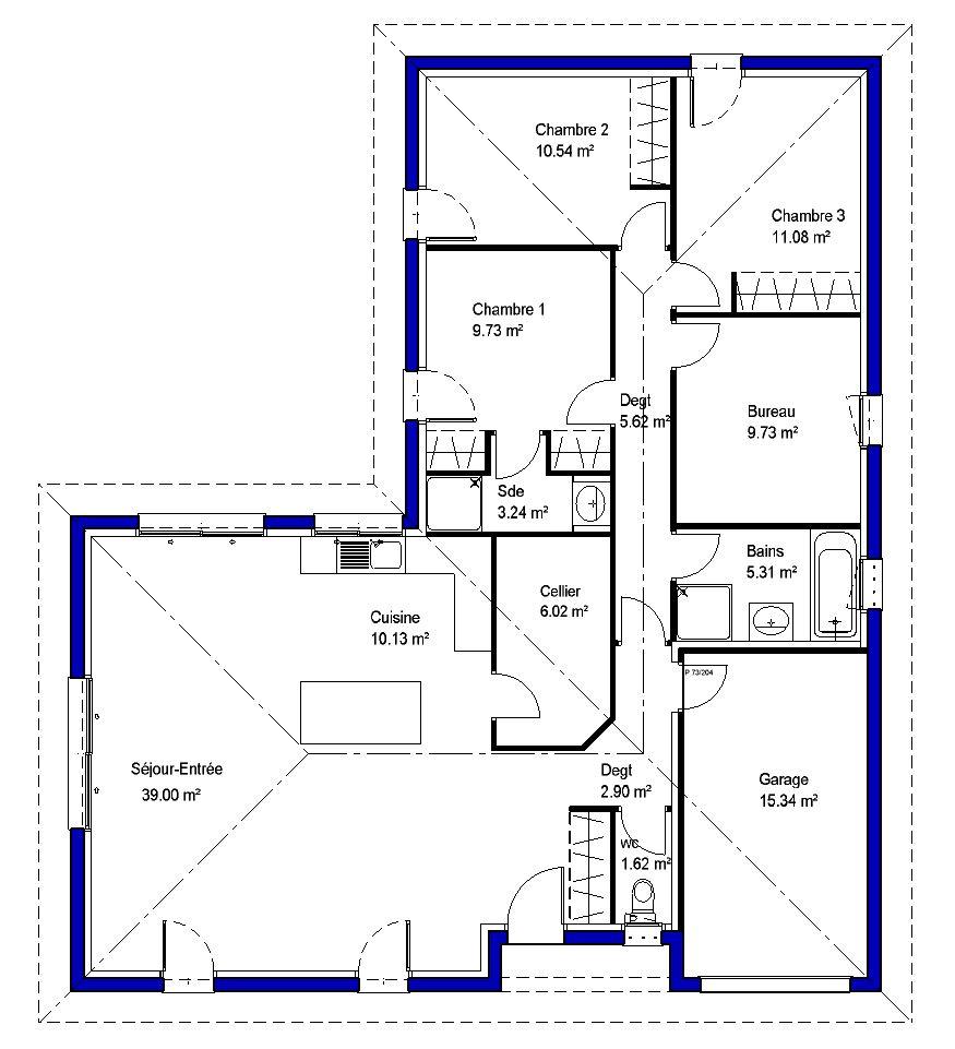 Lysa contemporaine maisons lara for Plan maison en l
