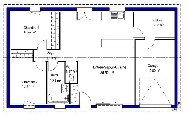 70 m²