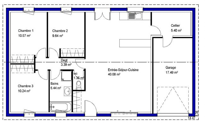86 m²