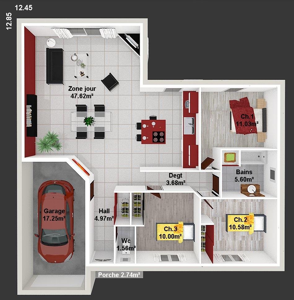 Maison en l 95 m2 longeves ref jmc maisons lara for Prix des terrains au m2