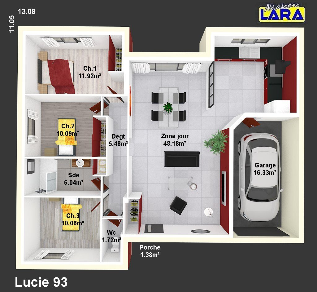 lucie maisons lara. Black Bedroom Furniture Sets. Home Design Ideas