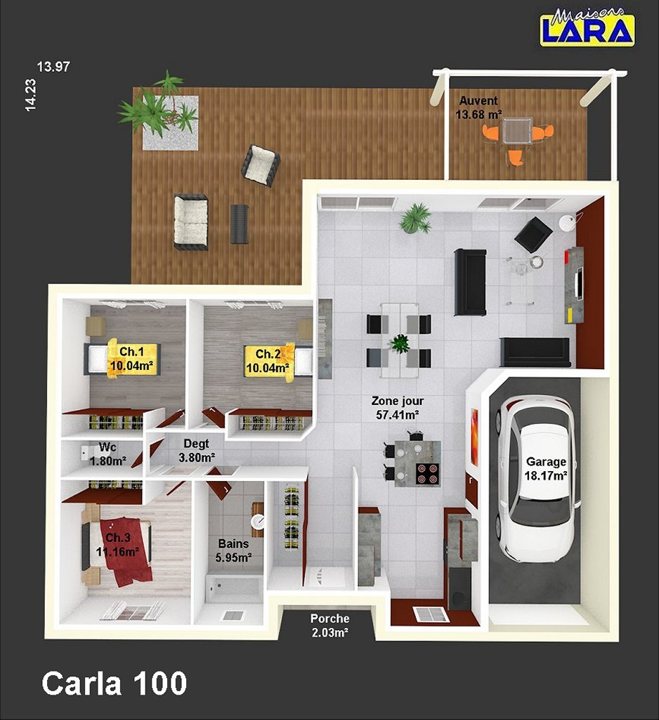 Carla maisons lara for Maison de 40m2