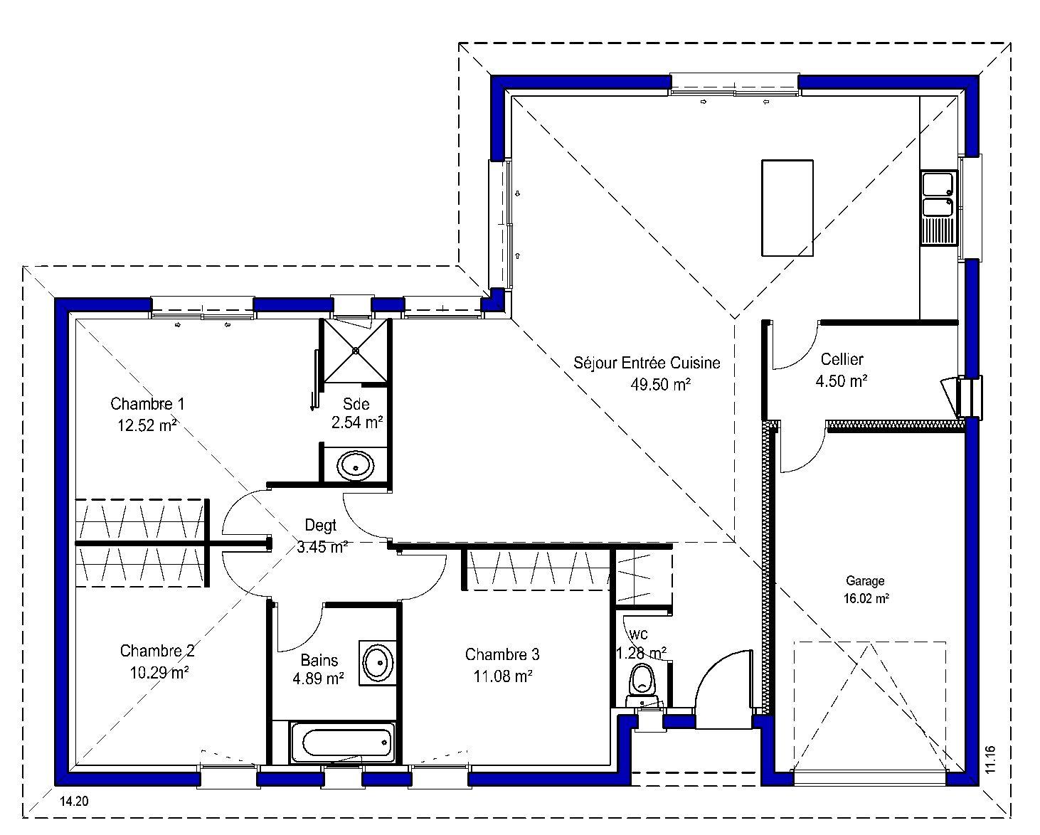 Amanda maisons lara for Plan 3 chambres