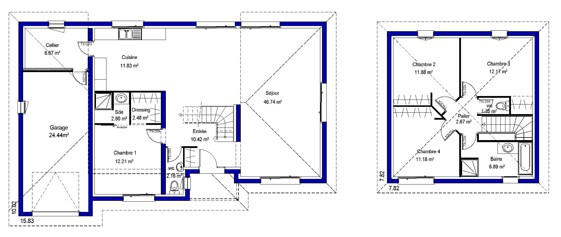 Plan de maison r 1 moderne for Maison plan moderne