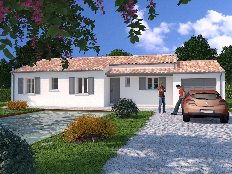 Projet saujon sur terrain de 517m maison 93m garage for Maison sur terrain rectangulaire