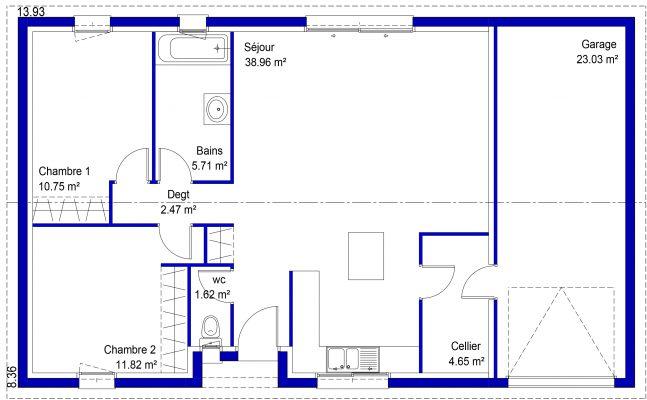 Maison 2 chambres petit prix