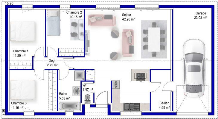Maison 3 chambres, petit prix