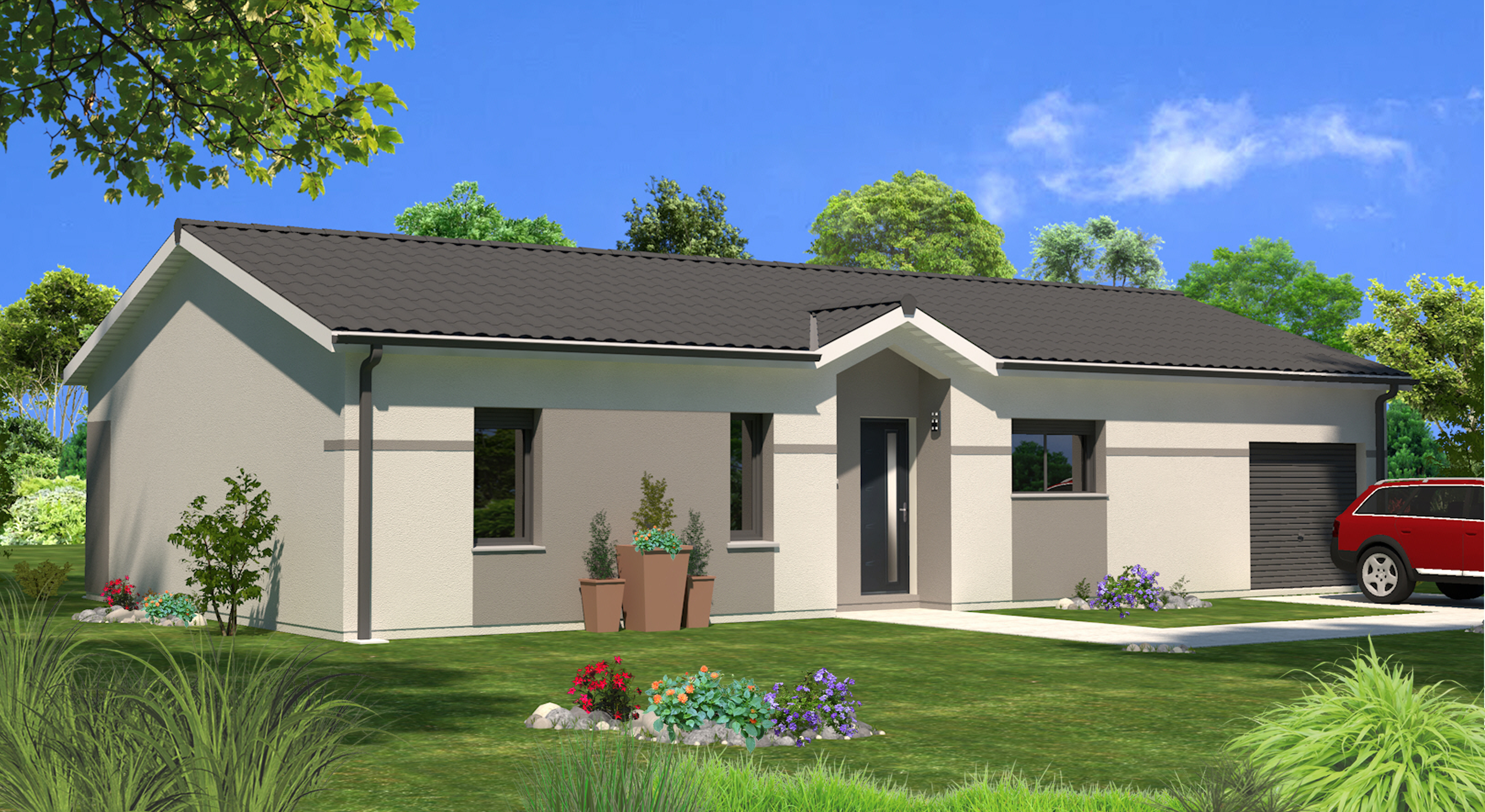 Maison contemporaine plain pied plan 140m2 maison moderne for Couleur facade maison plain pied