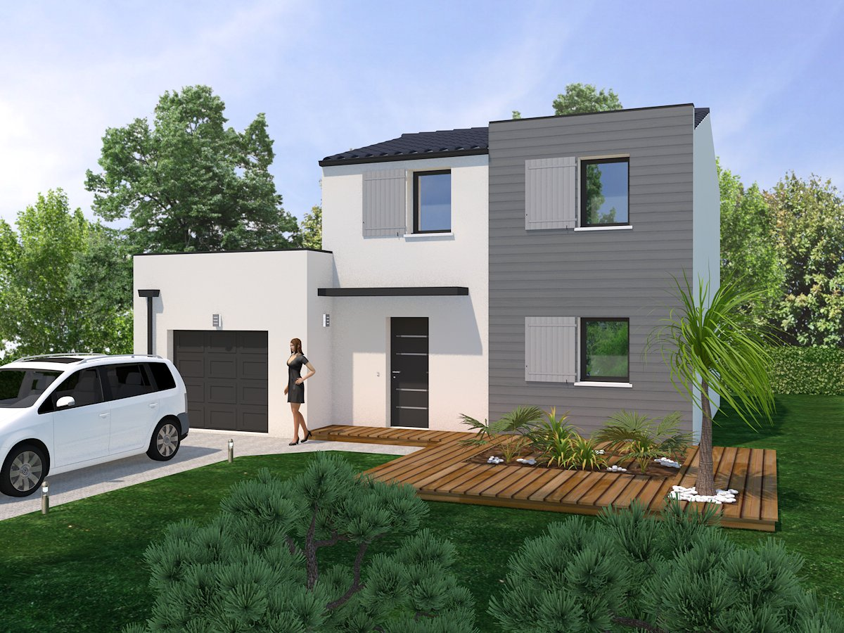 plan maison contemporaine 80m2
