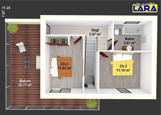 plan etage C4D avec surface