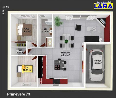 plan maison individuelle primevere 73