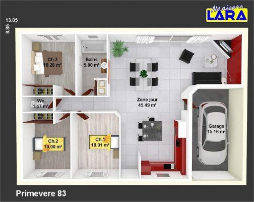 plan maison individuelle primevere 83