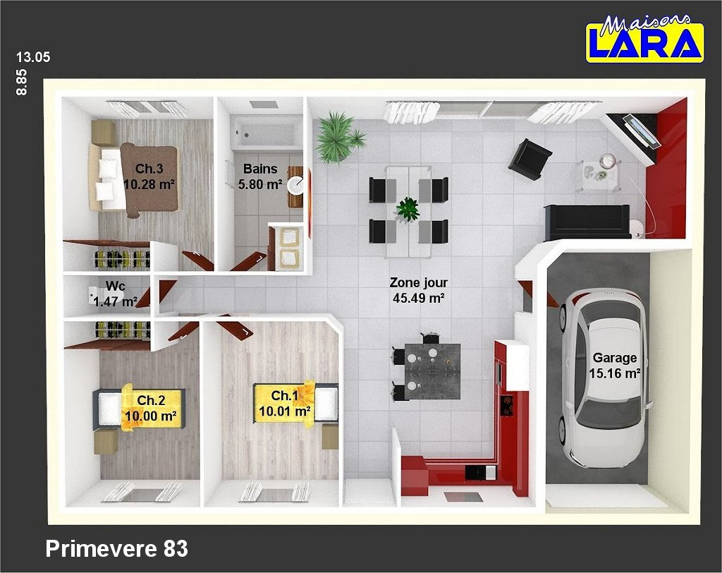 Primevere maisons lara for Plan de maison de 90m2