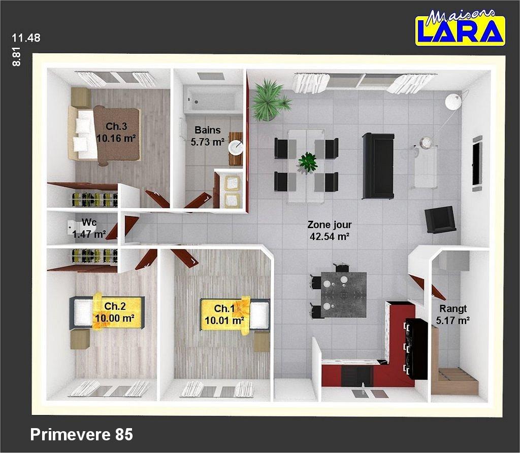 Primevere maisons lara for Maison individuelle plan